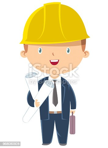 engineer boy holding paper plans