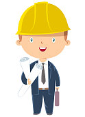 Vector engineer boy holding paper plans