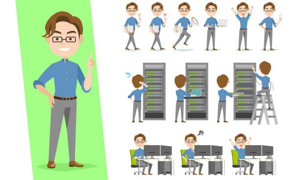 it engineer character set working in data center of rack servers - computer server room stock illustrations