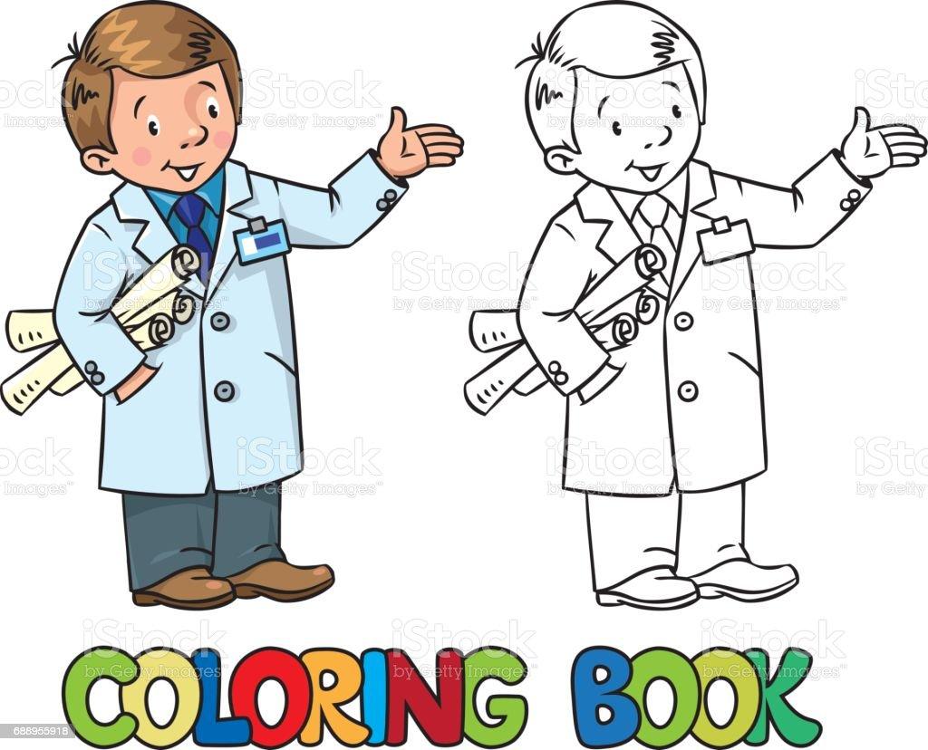 Ilustración De Libro De Colorear De Ingeniero Serie De Abc De La