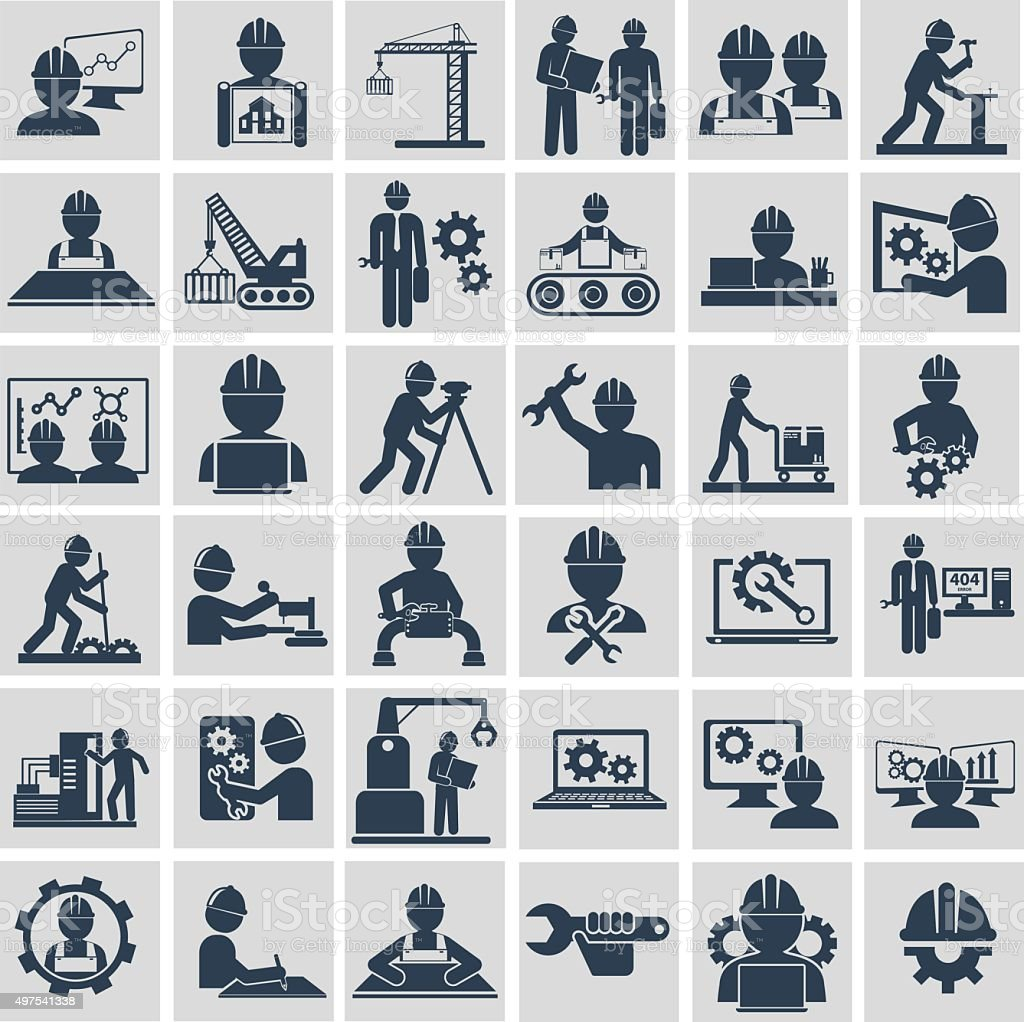 Engineer construction equipment machine operator managing and manufacturing icons vector art illustration