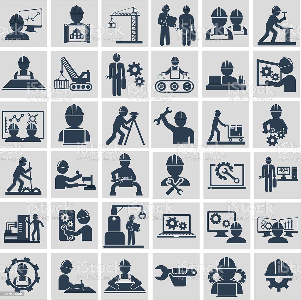 Engenheiro de construção máquina de equipamento de operador de gerenciamento e ícones de fabricação - ilustração de arte em vetor