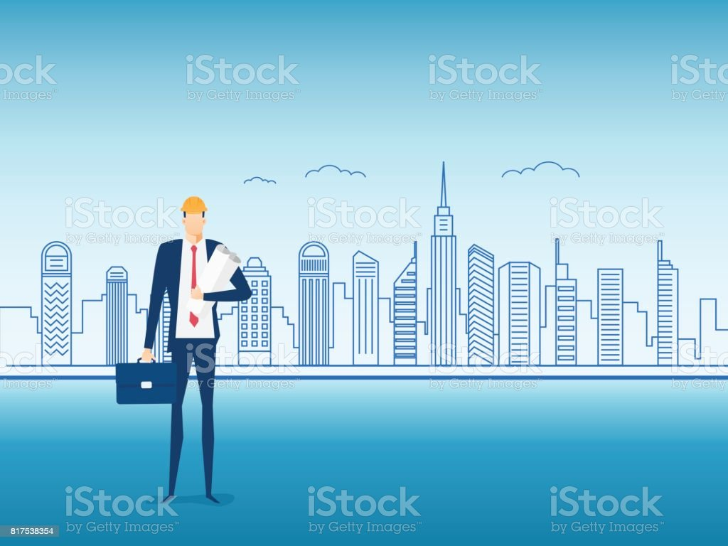 Engineer construction holding a blueprint paper on city screen engineer construction holding a blueprint paper on city screen character design royalty free malvernweather Images