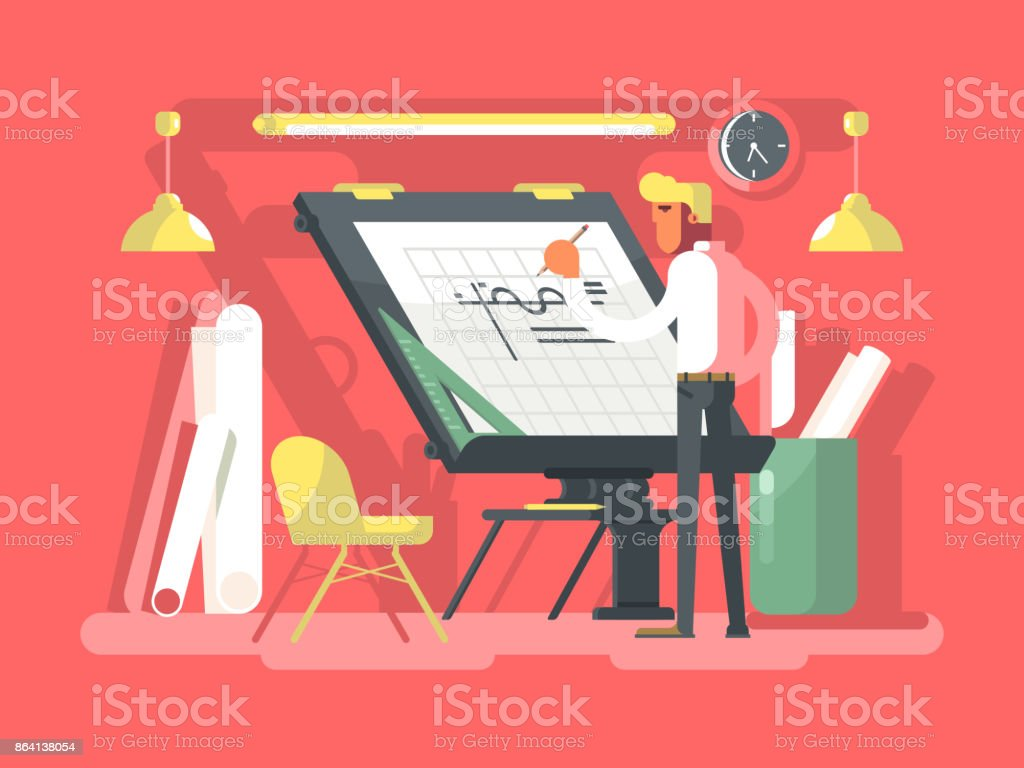 Engineer constructor draws project royalty-free engineer constructor draws project stock vector art & more images of adult