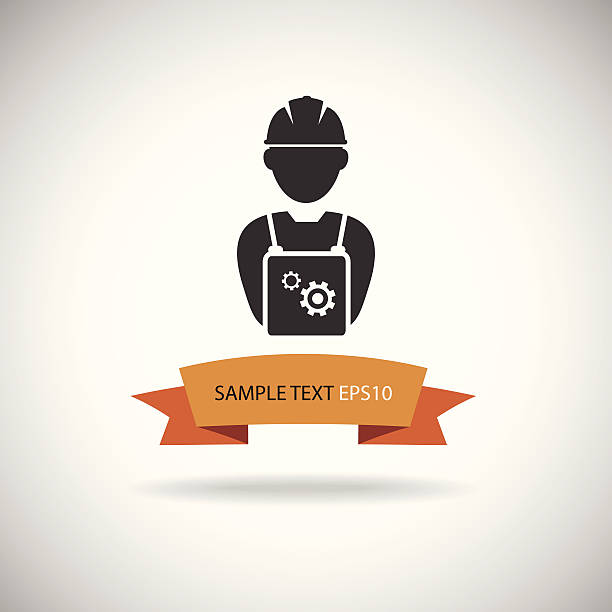 ilustraciones, imágenes clip art, dibujos animados e iconos de stock de icono de vector de ingeniero - obrero de la construcción