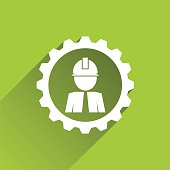 Engineer icon with a white gear border on green background