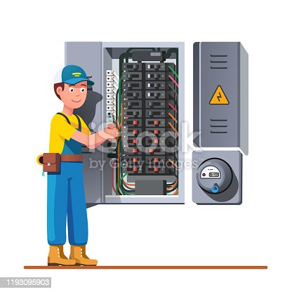 Electrician engineer man working with breaker and fuse box. Electrical service panel cabinet electric meter. Switch board wiring maintenance job. Flat vector technician character illustration