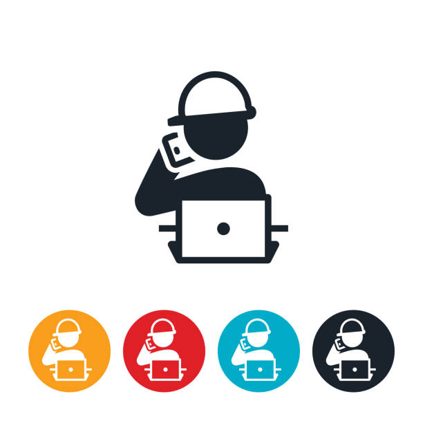 Engineer on Phone at Computer Icon An icon of an engineer sitting at his computer working and talking on his mobile phone. project manager stock illustrations