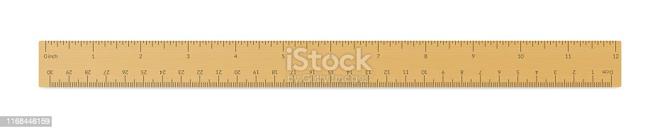 Engineer or architect wooden drafting ruler with an imperial and a metric units scale