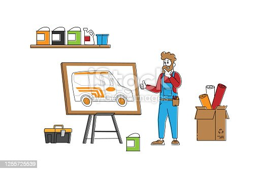 istock Engineer or Mechanic Character Presenting Design for Car Tuning. Vehicle Modification at Auto Service. Car Body Shop, Transport Upgrade, Painting Sticking of Wrapping Decal. Linear Vector Illustration 1255725539