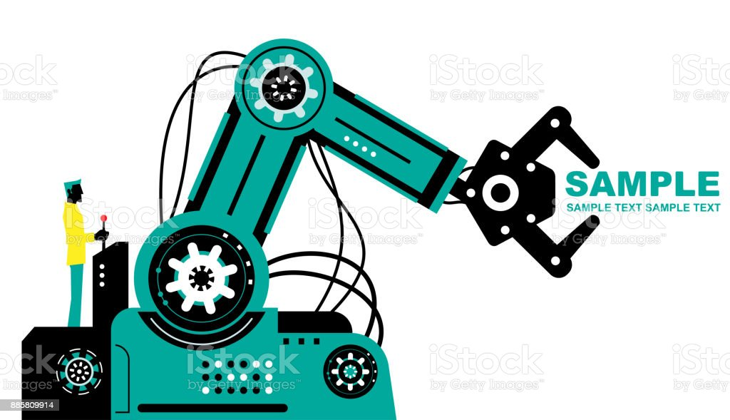 Engineer (Businessman) using joystick to operate robotic arm, side view, Partnership, Artificial intelligence to benefit people and society vector art illustration