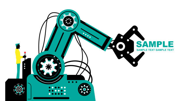 ilustrações de stock, clip art, desenhos animados e ícones de engineer (businessman) using joystick to operate robotic arm, side view, partnership, artificial intelligence to benefit people and society - man joystick