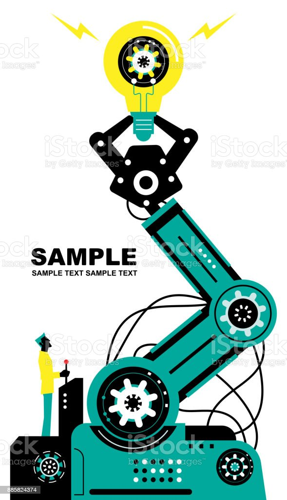 Engineer (Businessman) using joystick to operate robotic arm to lift a idea light bulb, side view, Partnership, Artificial intelligence to benefit people and society vector art illustration
