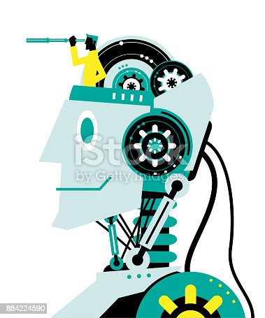 istock Engineer (Businessman) with hand-held telescope on robot head, side view, Partnership, Artificial intelligence to benefit people and society 884224590