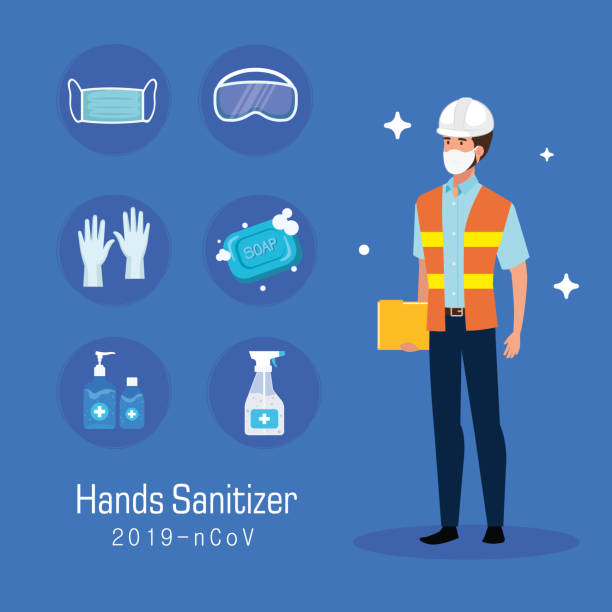 Engineer with mask and hands sanitizer prevention tips vector design vector art illustration