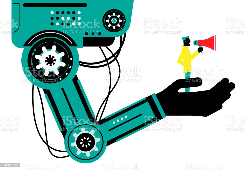 Engineer (Businessman) with megaphone on robotic arm, side view, Partnership, Artificial intelligence to benefit people and society vector art illustration