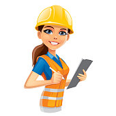 Illustration of a Engineer woman on white background