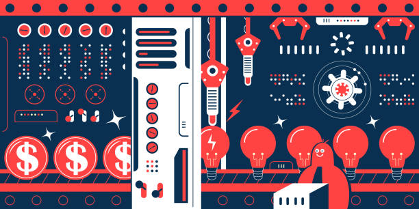 bildbanksillustrationer, clip art samt tecknat material och ikoner med ingenjör (programmerare, datavetare) arbetar i en fabrik, en rad bra idé glödlampor på produktionslinjen gå igenom porten och förvandlas till pengar. koncept om att tjäna pengar på din kunskap - changing bulb led