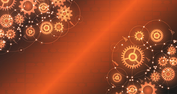Engineered gear pattern with glowing halo, tech-style orange background. EP.5.