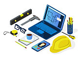 istock Engineering and architecture design.Flat isometric style. Drawing,mechanical engineering. Laptop, helmet and tools .Engineering workplace.Industrial architecture 1070119208