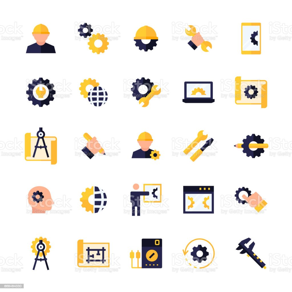 Engineering and manufacturing icon set in flat style. Vector symbols. royalty-free engineering and manufacturing icon set in flat style vector symbols stock illustration - download image now