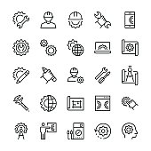 Engineering and manufacturing icon set in thin line style.