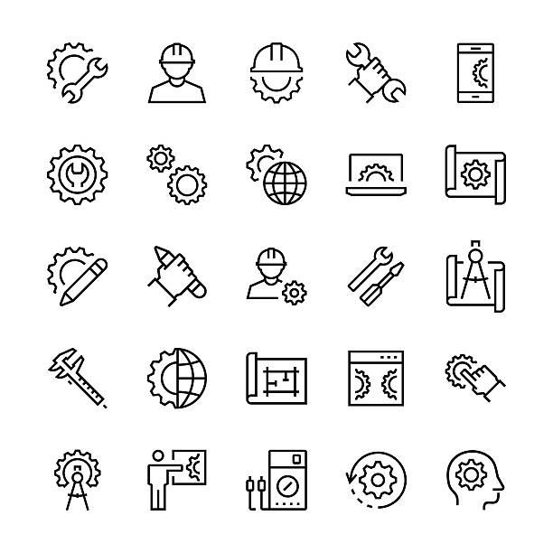 Engineering and manufacturing icon set in thin line style. - Illustration vectorielle
