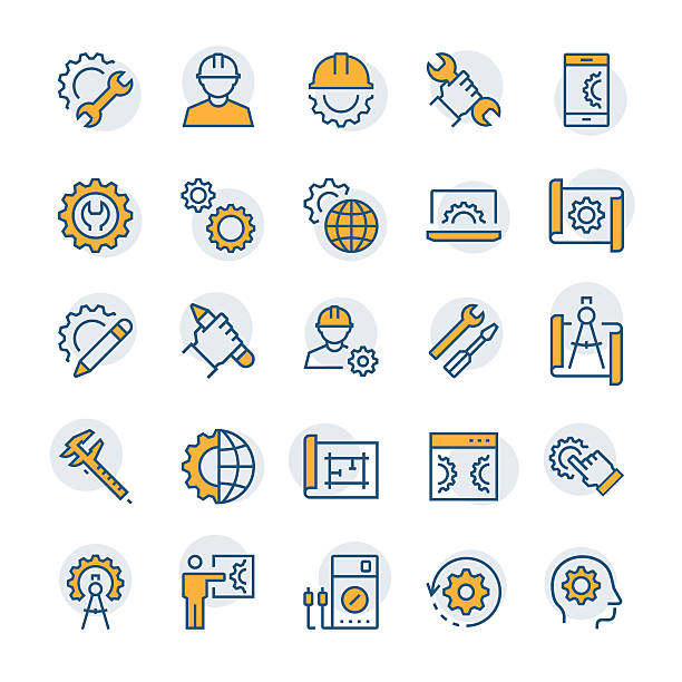 Engineering and manufacturing icon set in thin line style. – Vektorgrafik