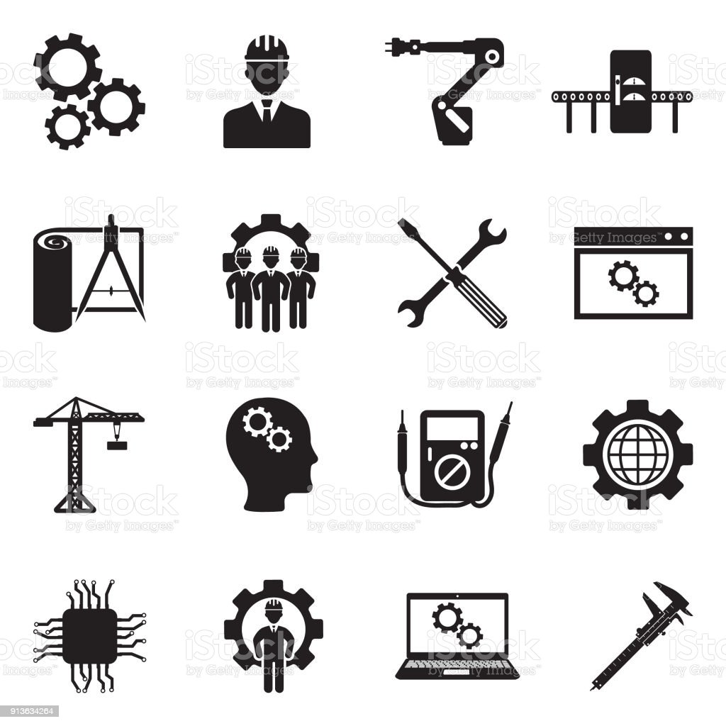 Engineering And Manufacturing Icons. Black Flat Design. Vector Illustration. royalty-free engineering and manufacturing icons black flat design vector illustration stock illustration - download image now