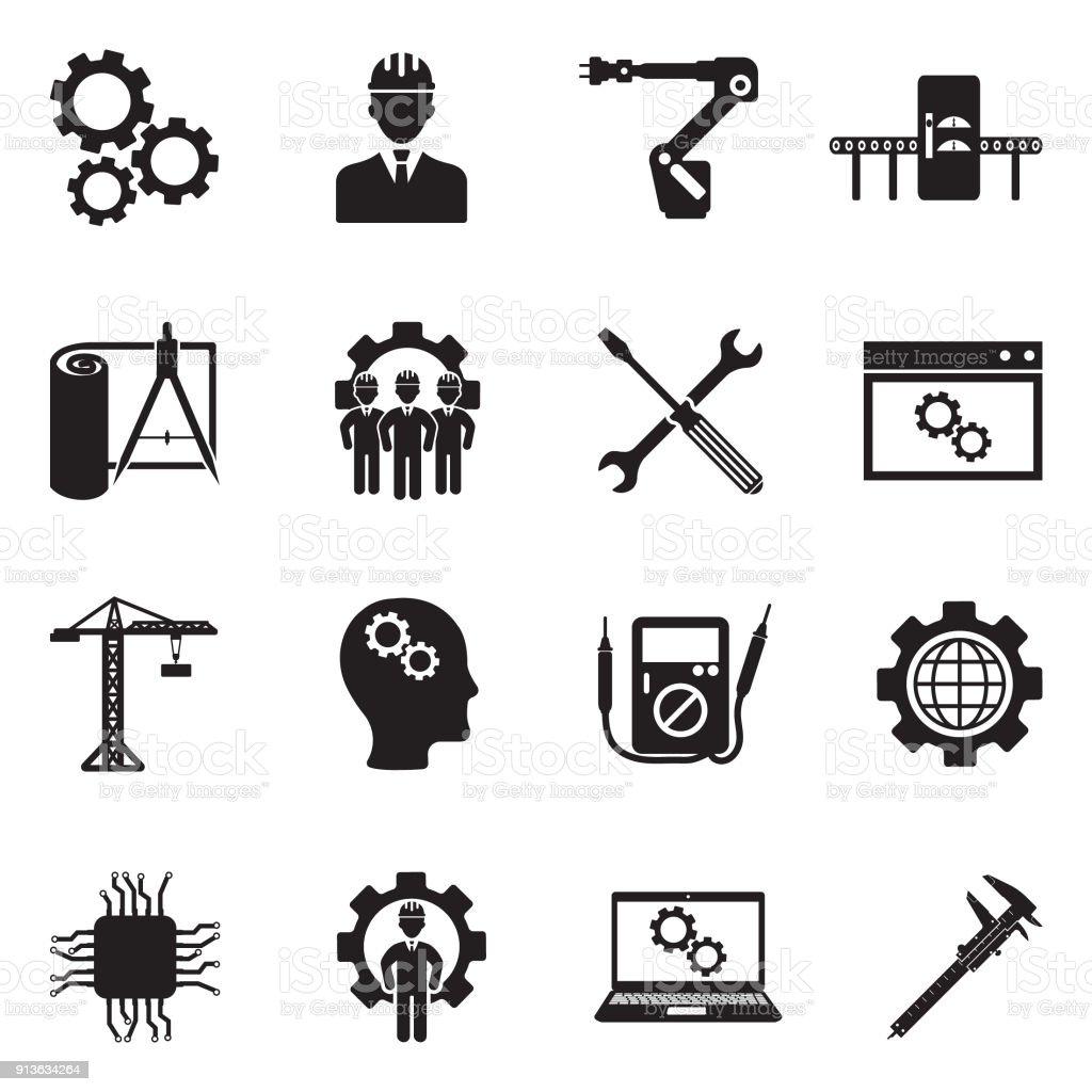 Ingénierie et fabrication d'icônes. Design plat noir. Illustration vectorielle. - Illustration vectorielle