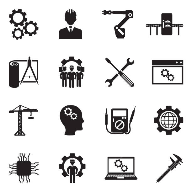 Engineering And Manufacturing Icons. Black Flat Design. Vector Illustration. Gear, Equipment, Factory, Blueprint, Computer manufacturing stock illustrations