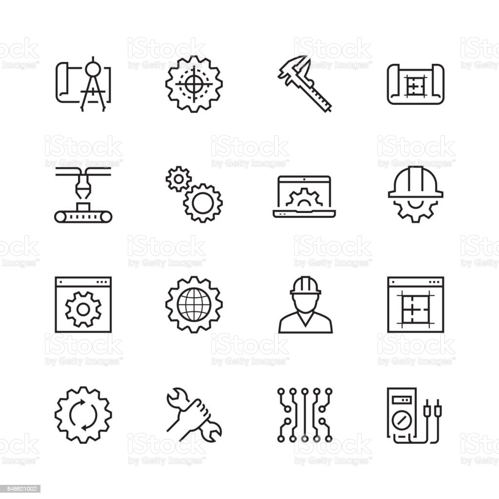 Engineering and manufacturing vector icon set in thin line style vector art illustration