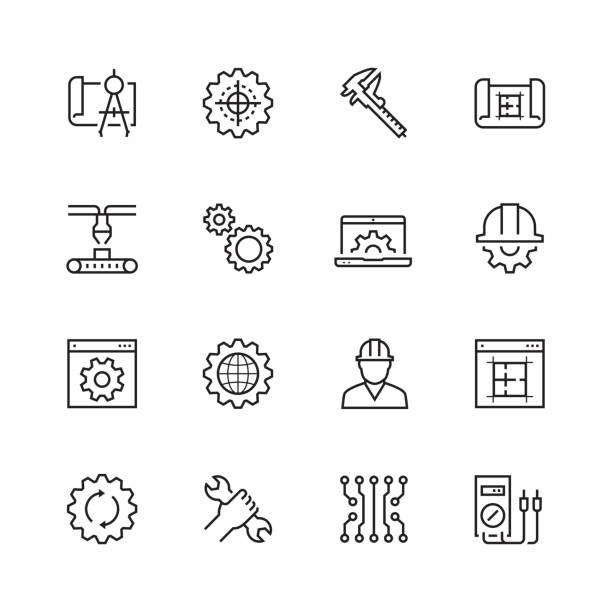 ilustraciones, imágenes clip art, dibujos animados e iconos de stock de ingeniería y fabricación de conjunto de iconos de vector de estilo de línea fina - ingeniero