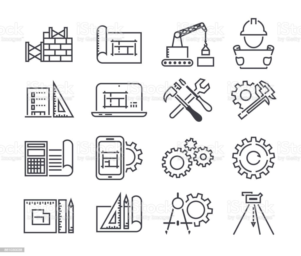 Engineering and manufacturing vector icon set in thin line style - illustrazione arte vettoriale