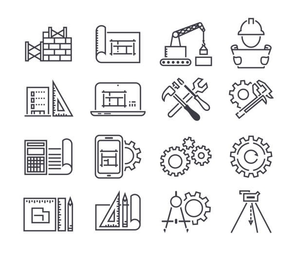 engineering and manufacturing vector icon set in thin line style - konstrukcja budowlana stock illustrations