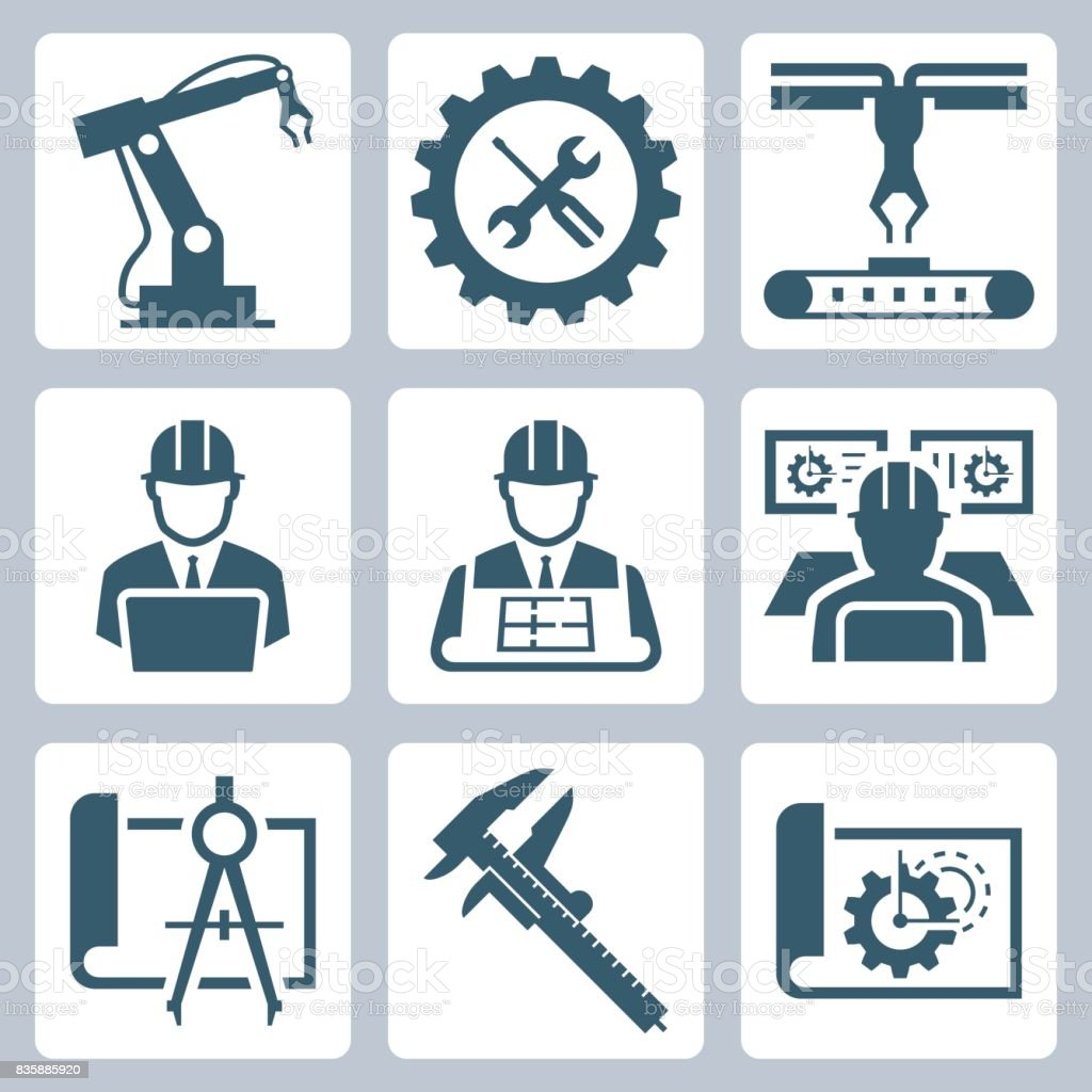 Engineering and manufacturing vector icon set vector art illustration