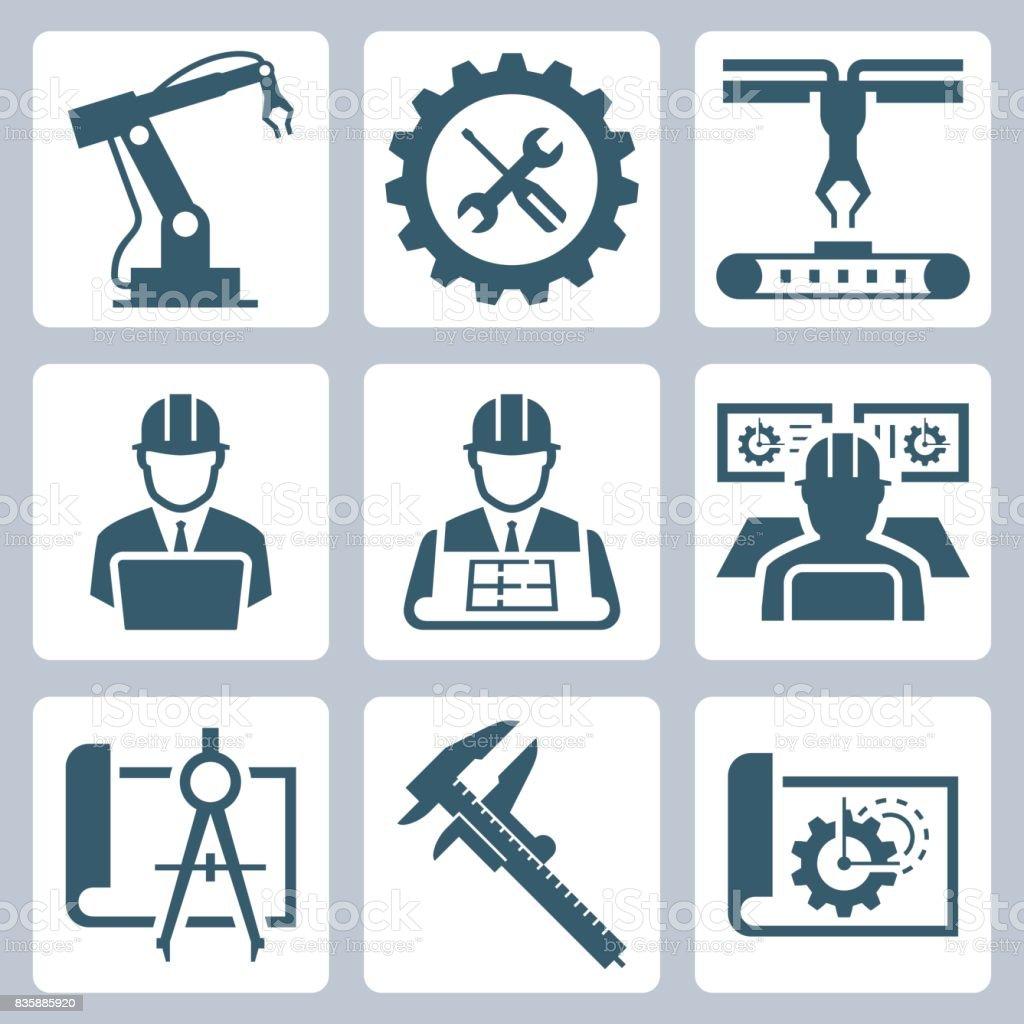 Ingénierie et fabrication icon set vector - Illustration vectorielle