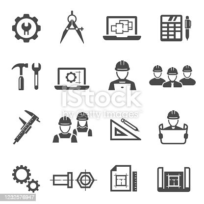 Engineering, architecting black icons set isolated on white. Project management, construction tools, workers pictograms collection, logos. Repairing equipment vector elements for infographic, web.
