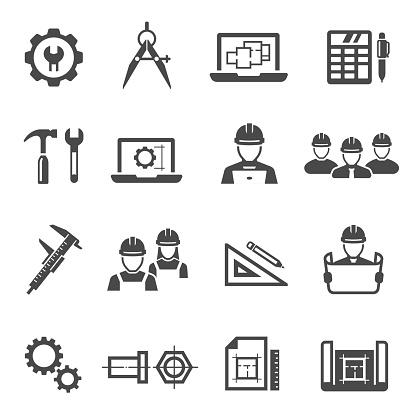 Engineering, architecting black icons set isolated on white.