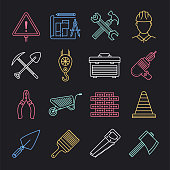 Engineering and building construction neon style concept outline symbols. Line vector icon sets for infographics and web designs.