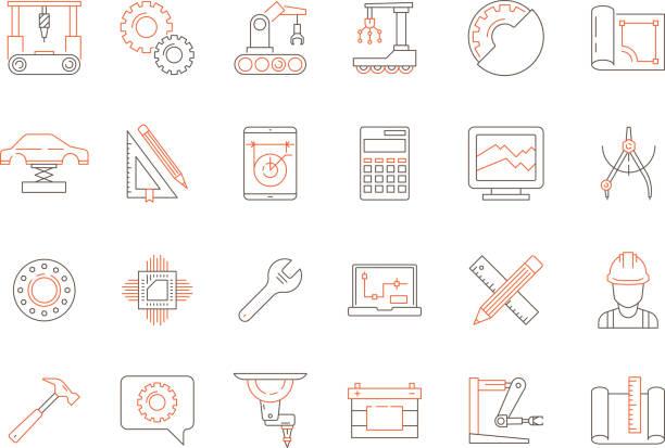 technik farbiges symbol. support für software mechanische arbeit elektronisch und techniker produktionswerkzeuge vektor dünne liniensymbole - ingenieur stock-grafiken, -clipart, -cartoons und -symbole