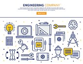 Line vector illustration of an engineering company. Banner/Header Icons.