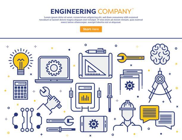エンジニア リング企業コンセプト ベクターアートイラスト