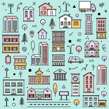 Vector illustrations for seamless engineering construction pattern. Hand-drawn icons with editable strokes can be used as print or digital works in vintage doodle style.