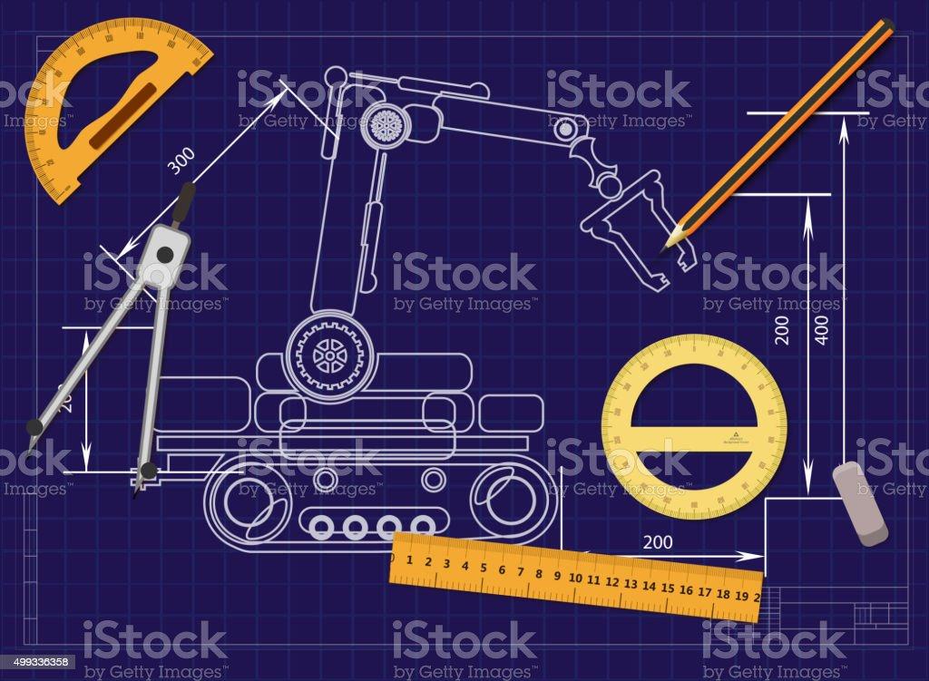 Ilustrao de a engenharia de desenho em um fundo azul e ferramentas a engenharia de desenho em um fundo azul e ferramentas para medir ilustrao de a engenharia ccuart Gallery