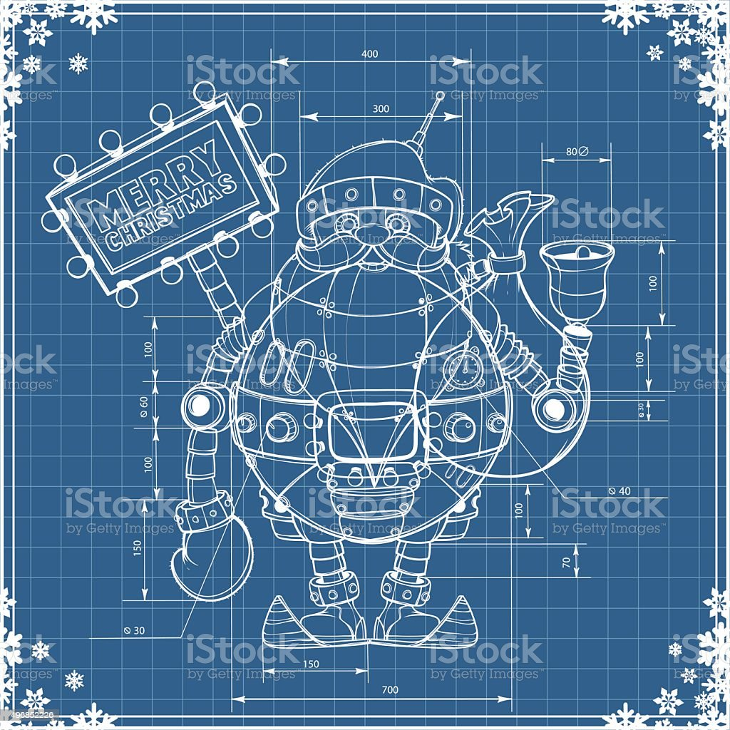 Engineering drawing robot santa on blue paper stock vector art engineering drawing robot santa on blue paper royalty free engineering drawing robot santa on blue malvernweather Images