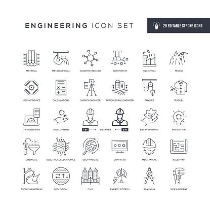 Engineering Editable Stroke Line Icons