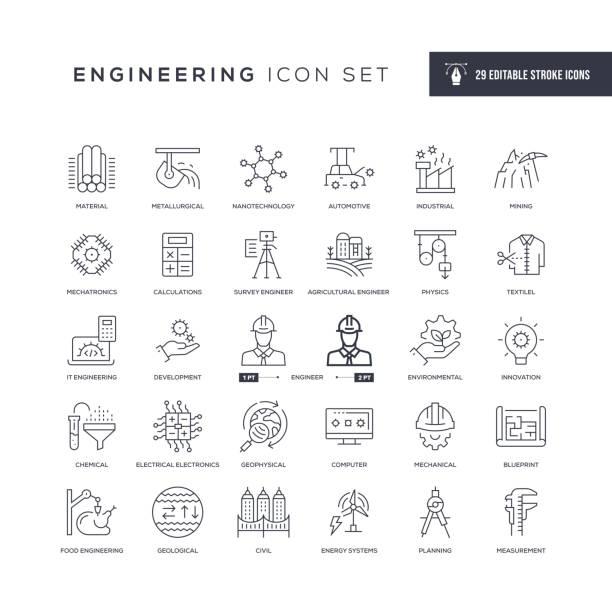 ikony linii pociągowych edytowalnych inżynierii - inżynieria stock illustrations