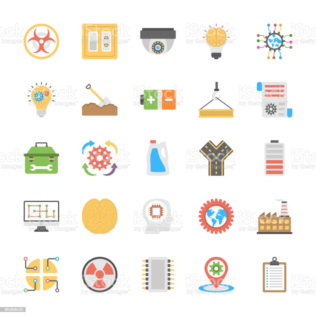Engineering Flat Icons Pack royalty-free engineering flat icons pack stock vector art & more images of computer chip