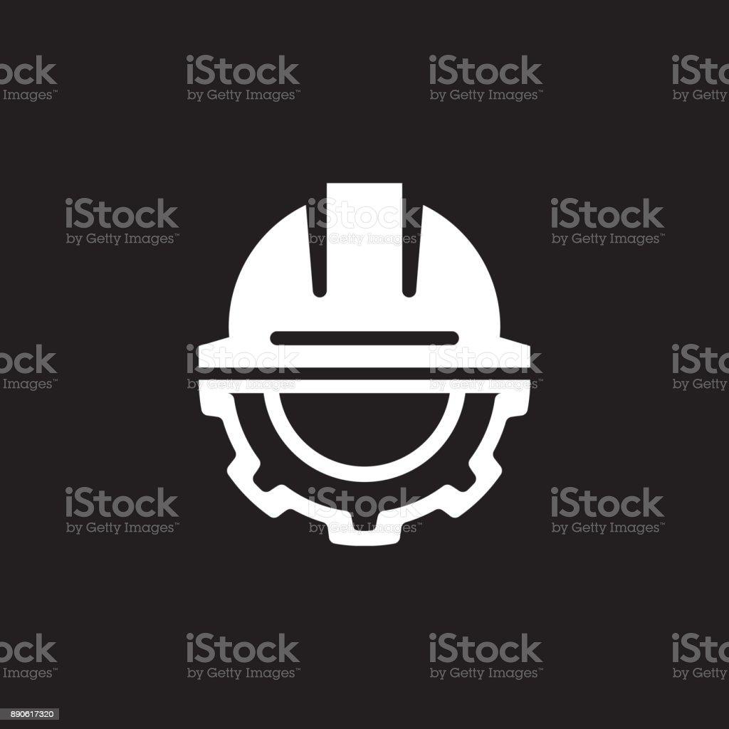 Engineering Icon. Gear and Hard Hat. Development Symbol. vector art illustration